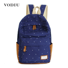 Backpack For Teenagers Girls Canvas School Notebook Dot Printing Backpack Laptop Shoulder Candy Color Casual Mochila Women Bag(China)