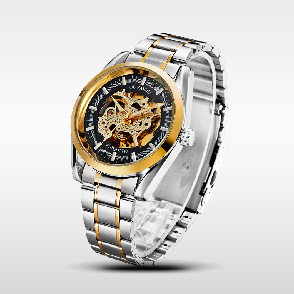 Ouyawei Transparent Golden Case Luxury Casual Design Stainless Steel Strap Mens Top Brand Luxury Mechanical Skeleton Watch<br><br>Aliexpress