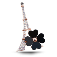 B574 Eiffel Tower Clover Brooches For Women Lapel Pin Gold Color Jewelry Rhinestone Pins And Brooches Fashion Jewellery