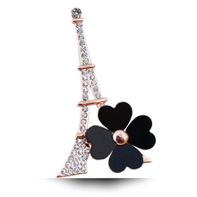 B574 Eiffel Tower Clover Brooches For Women Lapel Pin Gold Color Jewelry Rhinestone Pins And Brooches Fashion Jewellery(China)