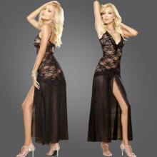 Sexy Long Night Gown Transparent Sheer Mesh Night Dress Erotic Long Lingerie Women Sexy Nightwear Bud silk Sleepwear(China)