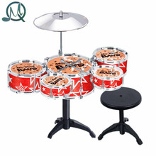 MQ Children Kid's Toy Jazz Drum Set Early Educational Musical Instrument Toy Playset with Drum Cymbal Stand Stool Drumsticks