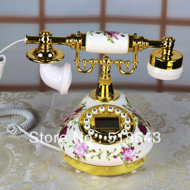 Free shipping ceramic telephone rural antique telephone European phone restoring ancient ways<br><br>Aliexpress