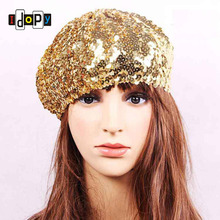 Wholesale and Retail Stylish Party Sequin Beret Stretch Shiny Night Club Dance Stage Performance Hat Cap For Girls Women(China)