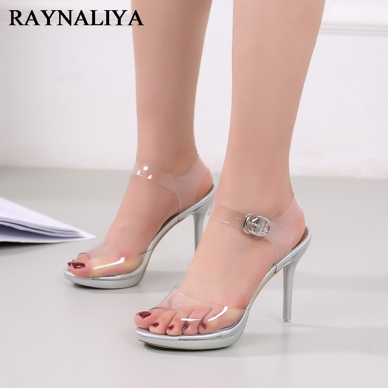 Women Transparent High Heels Sandals Platform Summer Waterproof Female Crystal Wedding Shoes Sandalia Feminina 10cm WZ-A0034<br>