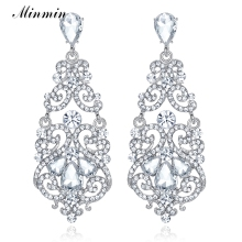 Minmin Large Floral Silver-color Teardrop Crystal Long Drop Earrings Rhinestone Big Earrings Female Wedding Jewelry EH373(China)