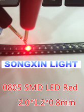 100pcs LEDs SMD 0805 Red Diodes SMD LED 0805 SMD Diode 2.0*1.2*0.8mm 0805 smd led Red light-emitting diode 620-625nm(China)
