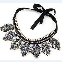 LNRRABC Fashion Women Lady Hot Luxury Blue Crystal Leaves Design Collar Pendant&Necklace Jewelry Wedding Gift