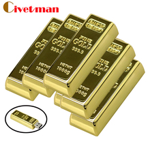 usb flash drive Latest desgin Bullion Gold Bar USB 2.0 Flash Memory Drive Stick U disk 128mb 8GB 16GB 32GB 64GB Pendrive(China)