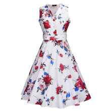 Sisjuly Women Summer Black Dress Women A-Line Floral Red Single-Breasted Knee-Length Polo Neck Dress Girls Sleeveless Dresses