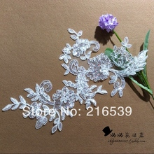 2016 wedding hair accessory mirror pair sequined flower lace milky white decoration 27*21.5cm