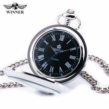 2017 Classic Vintage Stainless Steel Transparent Design Fashion Men's Pocket Watch Black Roman Dial JAPAN Quartz Pendant 12