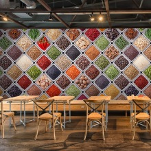 Free Shipping Grain health bean flavoring wallpaper mural grains Hot pot restaurant drinks shop Soybean wallpaper