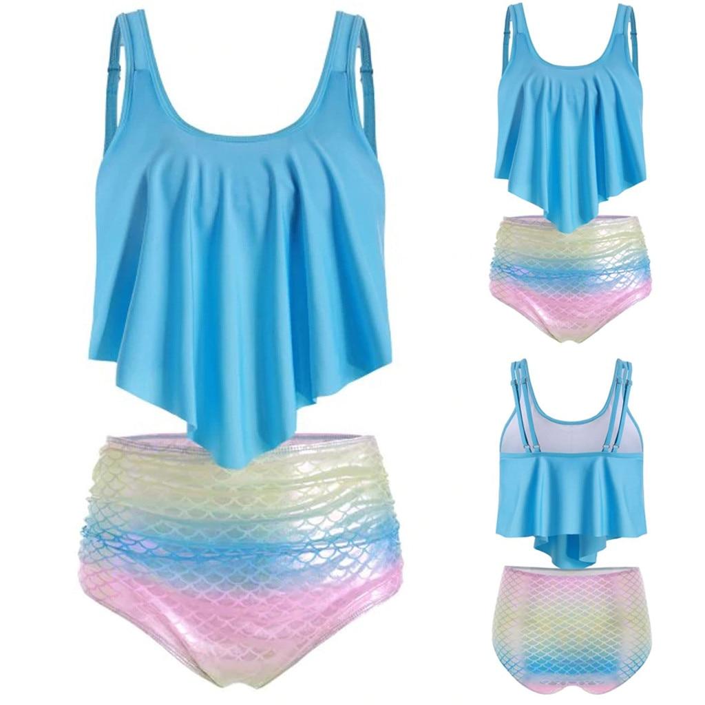 Fashion Women Two Pieces Top Ruffled With High Waisted Bottom Bikini Set Swimsuit Wire Free Beachwear Ladies Girls 719
