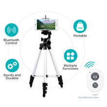 Portable Tripod 4 Sections Bluetooth Tripod+Phone Holder For Cellphone Smart phone DSLR Digital SLR camera Camcorder