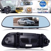 7 Inch Dual Lens Car Camera Hd 1080p Vehicle Auto Dashcam Video Recorder Dash Camera Rear Mirror Car Registrator Night Vision(China)