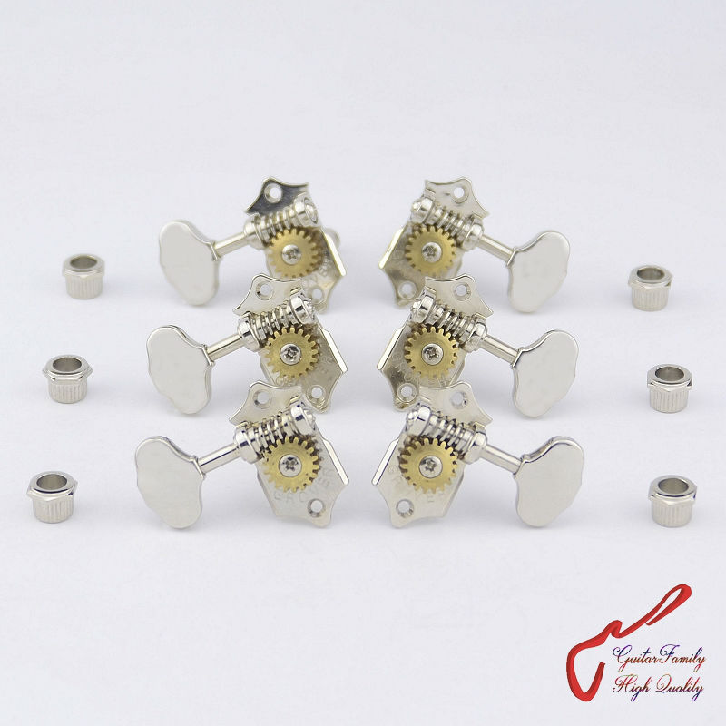 1Set 3R-3L Genuine Grover V97-18NA Vintage Guitar Machine Heads Tuners  Gear ratio 1:18  Nickel  ( without original packaging )<br>