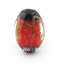 Free shipping 2pcs/lot 22*16mm Oval shape large glass lampwork beads charm beads wholesale high quanlity for necklace making(China)