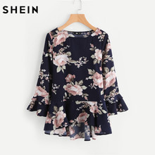 SHEIN Fluted Sleeve Ruffle Dip Hem Blouse Autumn 2017 Casual Womens Tops Navy Long Sleeve High Low Floral Blouse(China)