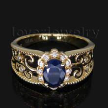 Hot Selling Oval 5x7mm Blue Sapphire Ring With Diamonds For Women Men Solid 14Kt Yellow Gold WU018(China)