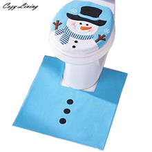 2PCS Set Fancy Snowman Toilet Seat Cover & Rug Bathroom Set Christmas Decor Comfortable Overcoat Toilet Case Festive D4(China)
