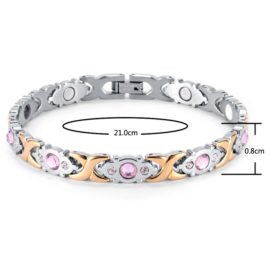 17 Rainso Crystal Gem Woman Bracelet Stainless Steel Health Energy Magnetic Gold Fashion Jewelry Lady Bracelets Gift for Girls 16