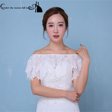 2017 New Style In Stock White/Ivory Lace Bridal Shawl Bolero Para Mulher Bridal Cape Wedding Jacket Women Wedding Accessories