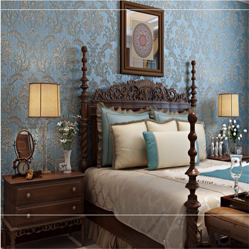 Beibehang3D wallpaper Damascus romantic wedding room luxury living room bedroom pink l blue yellow background 3D wallpaper<br>