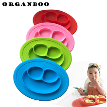 ORGANBOO 1PC Food grade Silicone Plate Tray Dishes Food Holder for Baby Kids Children Baby Plate Dinnerware Accessories