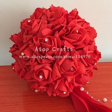 Free EMS Shipping 8pcs 12''/30cm Artificial Wedding Decorative Hanging Flower Ball Foam Rose Kissing Balls With Diamond