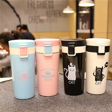 High Quality Stainless Steel Vacuum Flask Coffee Cups Mugs for Car Thermal Bottle Thermocup Fashion Cute Cat Tumbler