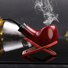 Brand New Nice Gift Rosewood handmade 9mm filter wood smoking pipe+Smoking Pipe Stand+pouch(China)
