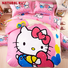 Colorful Hello Kitty theme 4pcs Queen size Children cartoon Household Cotton Bedding sets Duvet cover Quilt Bed sheet Pillowcase