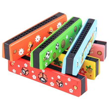 Wooden 16-hole Harmonica Kids Children Musical Instrument Educational Toy - Random Pattern