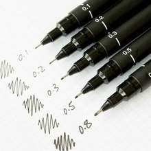 6pcs/pack Waterproof Drawing Pen Ultra Fine Line Marker Ink Black Sketch Pen 005 01 02 03 05 08 Art Markers School Supplies