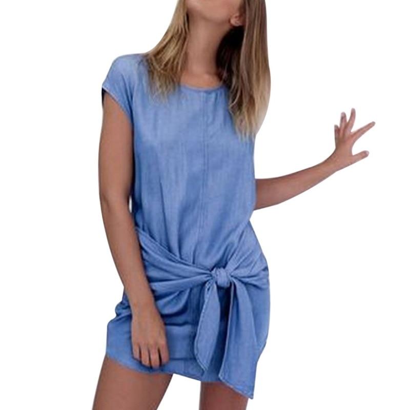 Denim T-Shirts Women Bandage Sashes Waist Solid Fashion Top Tees O Neck Short Sleeve Tshirt Casual Summer Tops Femme (Us 4-14)