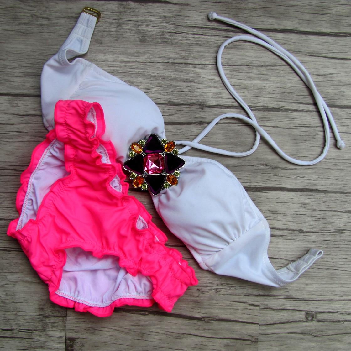 Designs Secret Crystal Diamond Bikini Set White Swimwear Women Swimsuit 2017 Biquini Pink Bottom Bathing Suit Custom Made<br><br>Aliexpress