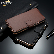 KISSCASE Leather Wallet Case For iPhone 7 6 6s Plus Flip Stand Card Slot Back Case For iPhone 7 7 Plus 5 5S SE Fundas Holster