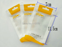 7*11.5cm USB Data line plastic zipper Retail Packing Bag for iphone samsung Micro Charging Cables Packaging bags(China)