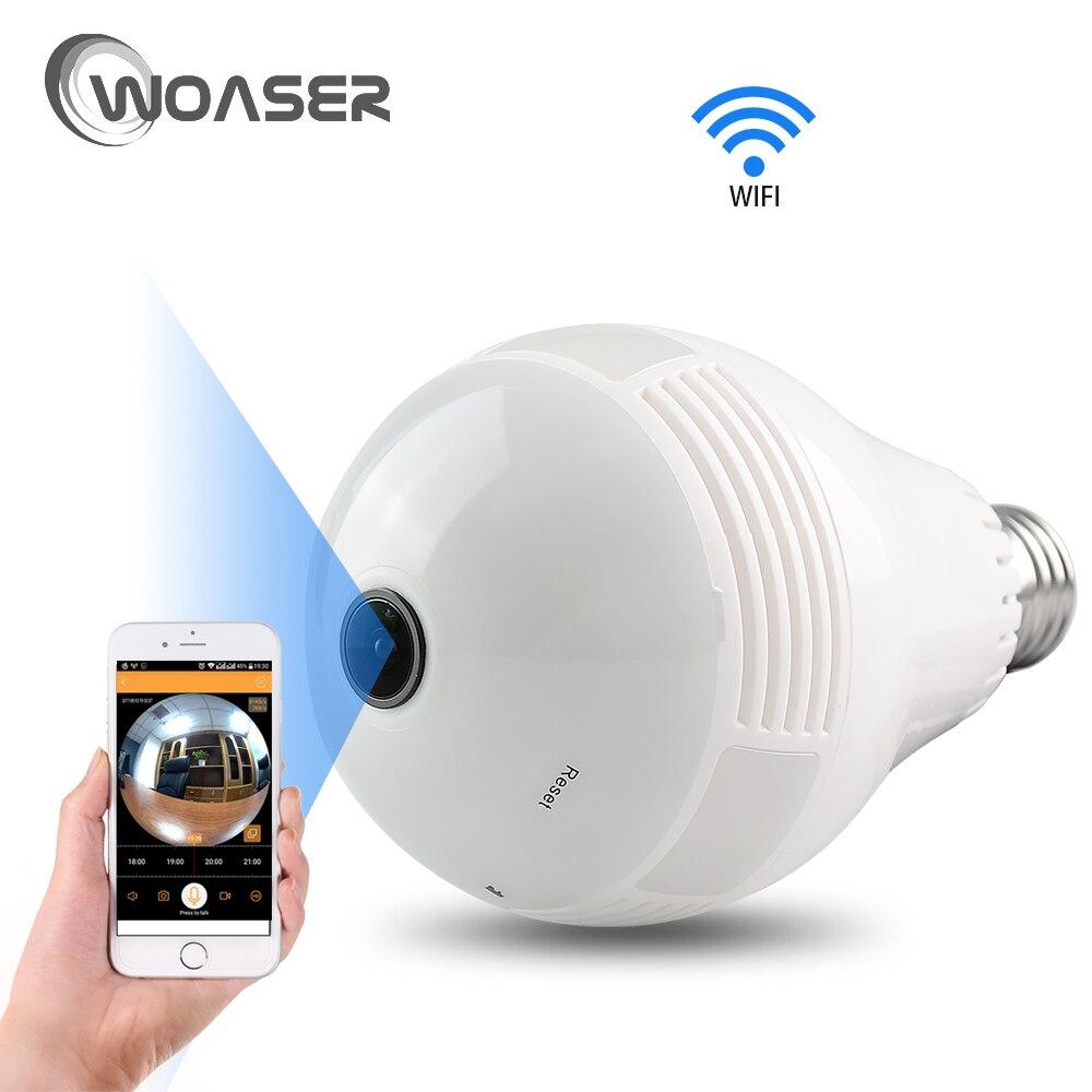 WOASER Bulb Light Wireless IP Camera Wi-fi FishEye 960P 360 degree Mini CCTV VR Camera 1.3MP Home Security WiFi Camera Panoramic<br>