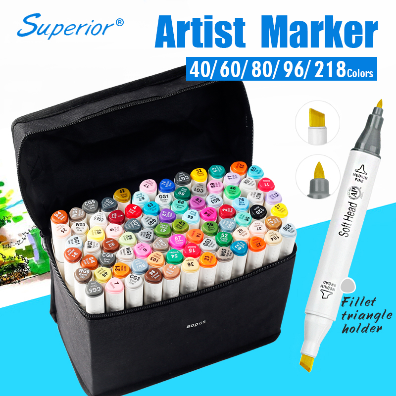 Bgln Artist Double Headed Marker Set 60/80/218 Design Mark Pen Animation Design Paint Sketch Copic Markers for Drawing<br><br>Aliexpress