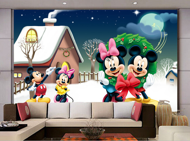 Custom Papel de parede Infantil, winter snow mouse for childrens room boys and girls bedroom background wall fabric wallpaper<br>