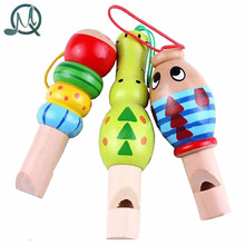 MQ 1 pcs Wooden Random color Toys Cartoon Animal Whistle Educational Music Instrument Toy for Baby Kids Children