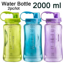 Wholesale 2pc/lot Oversized Drinking Bottle 2000ml/2L Plastic Straw Water Bottle With Strap BPA Free for Hiking Climbing Camp(China)