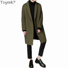 Tcyeek Men's Autumn Winter Coat Turn-down Collar Wool Cotton Liner Men Pea Coat Male Winbreaker Plus Size 3XL Overcoat LX1290(China)