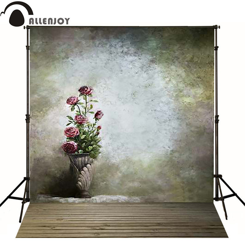 Allenjoy photography backdrops Vase of pink flowers retro floor photo background newborn baby photocall lovely thin vinyl<br><br>Aliexpress