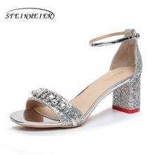 Women high heels sandals rhinestone 6.5cm elegant silver square thick heel shoes buckle pumps shoes sandals steinmeier(China)