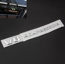 3D ABS Chrome V8 Kompressor Fender Tail Badge Decal Emblem Fit For Mercedes SLK CLK SL CLS ML GL C E S Class Sticker Car Styling