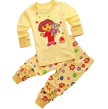 Girls Boys Pajamas Set 2017 New Cartoon Dora Pyjamas Kids Baby Long Sleeve Pajama Set Child Boys Sleepwear for Summer Autumn