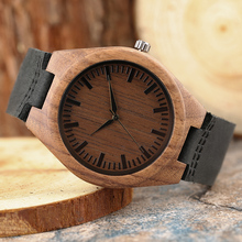 Simple Retro Wooden Watch Black Genuine Leather Strap Quartz Watch Natural Bamboo Handmade Clock Casual Men Watch Bangle Gift